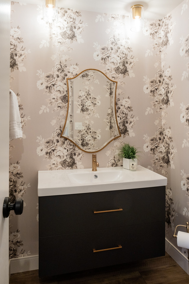 whimsical childrens bathroom remodel with cute flowery wallpaper